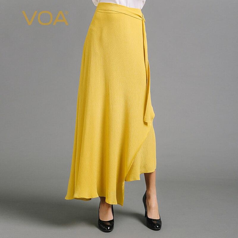 VOA soie jaune irrégulière une ligne jupe femmes longues balançoire jupes grande taille solide bref basique taille haute ceinture décontracté été C6653