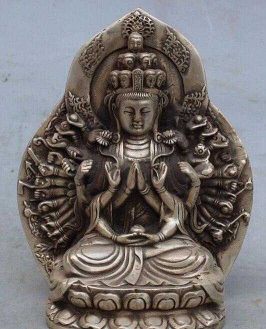 """Ev ve Bahçe'ten Statü ve Heykelleri'de 6 """"Çin Budizm Gümüş 1000 Arms Avalokiteshvara Guan Yin Tanrıça Heykeli R0707 title="""
