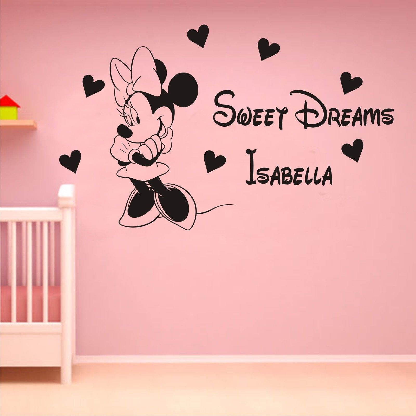online get cheap mouse personalised aliexpress com alibaba group sweet dreams minnie mouse personalised wall art sticker decal kit girls bedroom hw10030 free shipping