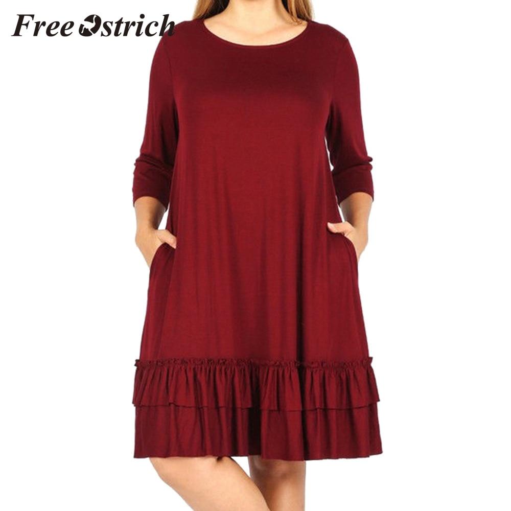 Dylanlla Womens Long Sleeve Plaid Swing Dress with Pocket Vintage Loose Crewneck Knee Length Tunics Shirt Dress Plus Size