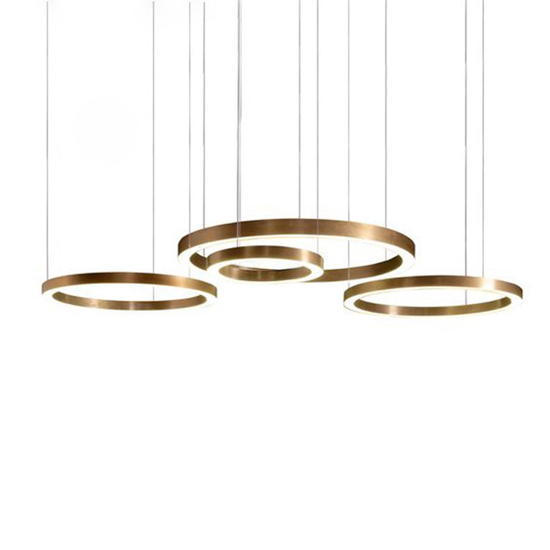 Customized LED chandelier light OEM ODM ring drop lamp circle acrylic hanging lamp DIY home commercial office shop decoration