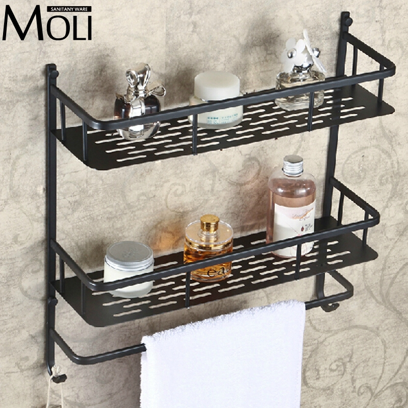 Oil-rubbed bronze bathroom shelf wall mounted dual layer multifunction storage shelves with towel bar and hook black oil rubbed bronze bathroom accessory wall mounted toothbrush holder with two ceramic cups wba197
