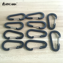 50 pcs 6cm Outdoor Camping Climbing Carabiner D Shape Mountaineering Buckle Fast Hang Mini Hook Aluminum Alloy black EDC