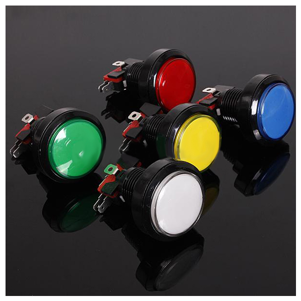 DSGS 45MM Illuminated LED Lighted 5Color Arcade Video Game Big Round Push Button Lamp