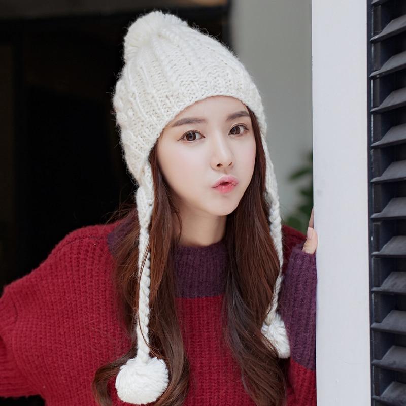 5ec1228aa83 Thick Earmuff Warm Handmade Hat Beanie Gift Women s Winter Caps-in Skullies    Beanies from Men s Clothing   Accessories