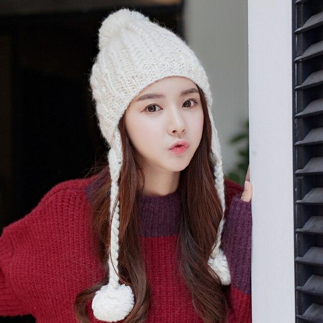 Thick Earmuff Warm Handmade Hat Beanie Gift Women's Winter Caps