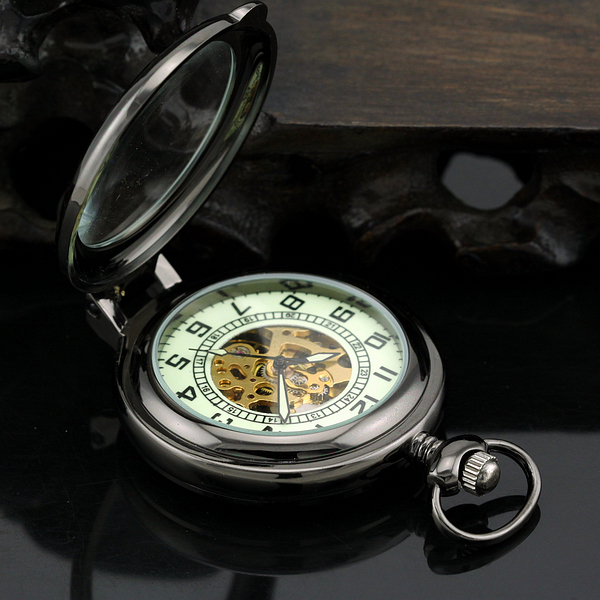 Classis Lead Black Style Men's Magnifying Glass Mechanical Pocket Fob Watch With Chain XMAS Gifts карандаш для губ make up factory make up factory ma120lwowu44