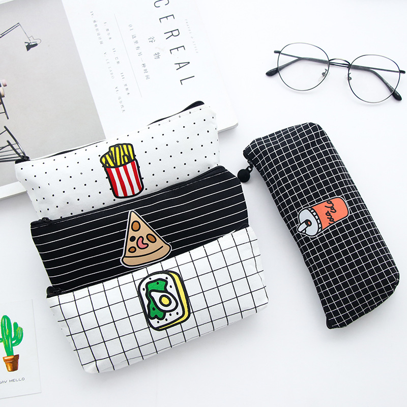 Cute Simple Pencil Case Pizza Fries Pattern Pen Box Student School Pencil Case Office Stationery