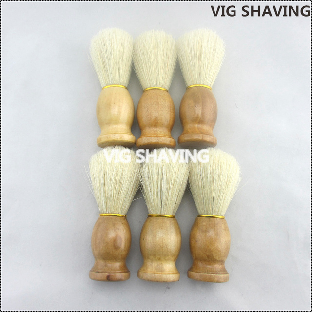 6pcs  wood handle Natural hog bristle  shaving men brush