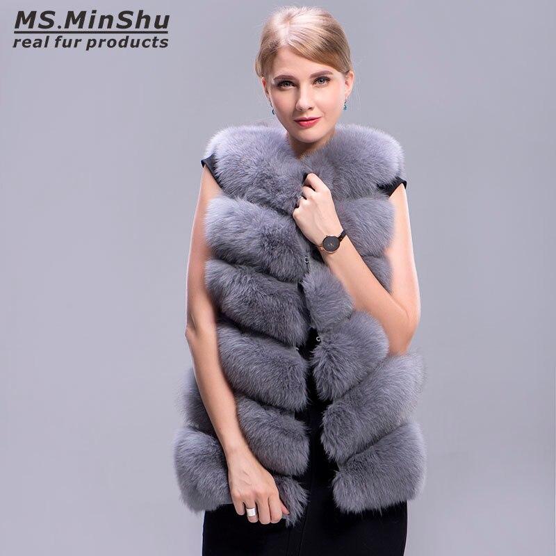 Mode Outwear Veste Réel Renard Sans Minshu Gilet Fourrure Véritable Ms De Manches D'hiver Femmes Épaisseur T0qf7