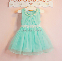Summer New Pearls Girls Dress Bow Princess Children Clothes Lace Girl Party Dress Kids Noble Fairy