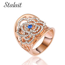 Vintage Carved Flower Blue Crystal Alloy Ring Trendy Zircon Rose Gold Color Wedding Ring For Women Accessories vintage chic diamante solid rose embellished alloy ring for women