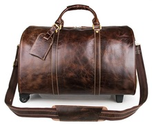 Genuine Excellent Vintage Leather Travelling Bag For Business Men Large Capacity Duffel Totes Brown 7077LQ