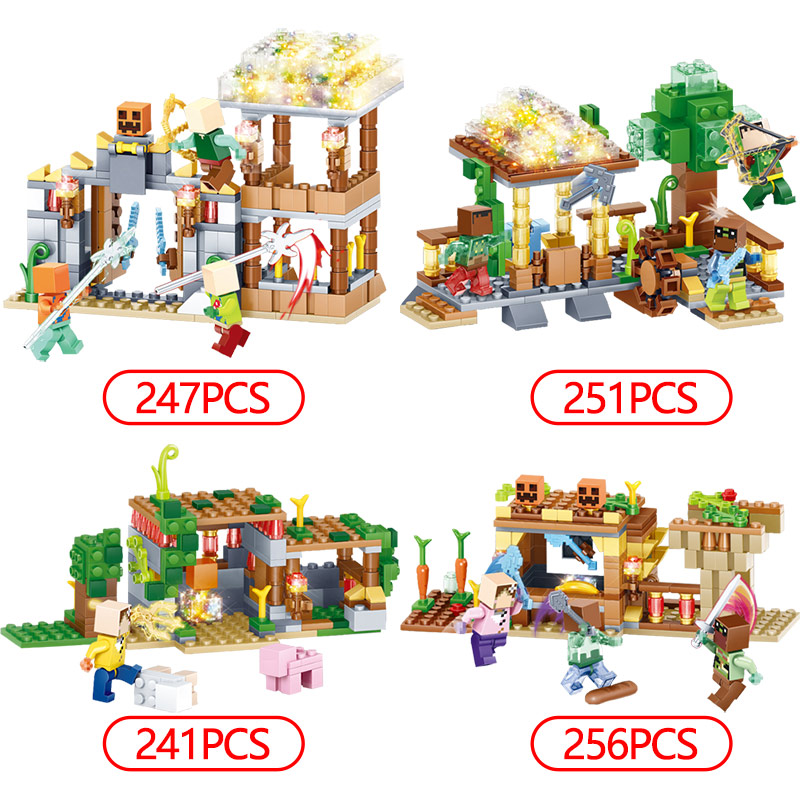 My World Blocks 3D LED Light Farm Series Compatible LegoINGLYS Minecrafted  DIY Guard Educational Fun Toys For Children 4