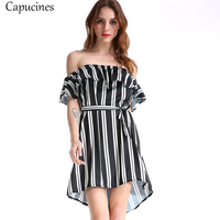 2018 Loose Casual Stripe Off the Shoulder Summer Dress Women Sexy Slash Neck Ruffles Chiffon Dress With Sashes Party Mini Dress