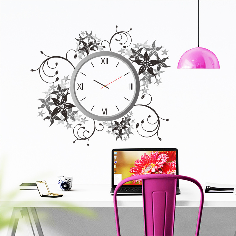 & creative black grey flower needle quartz clock wall sticker wall