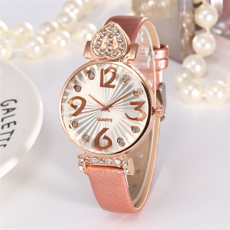Dress Watches For Girls Ladies Watch Pink Reloj Diamante Mujer Big Number Dial Clock Women Montres Femmes Relojes Mujer Lujo #D