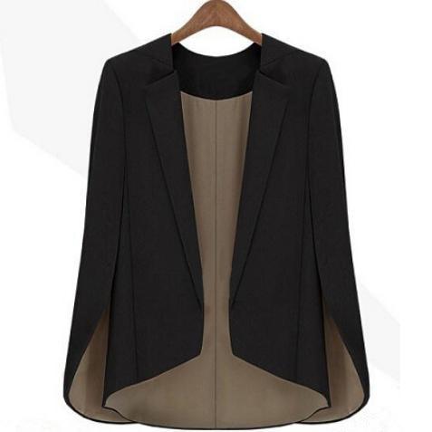 Fashion new Women's Basic Coat Slim Suit black Jacket runway shawl cape blazer xxl