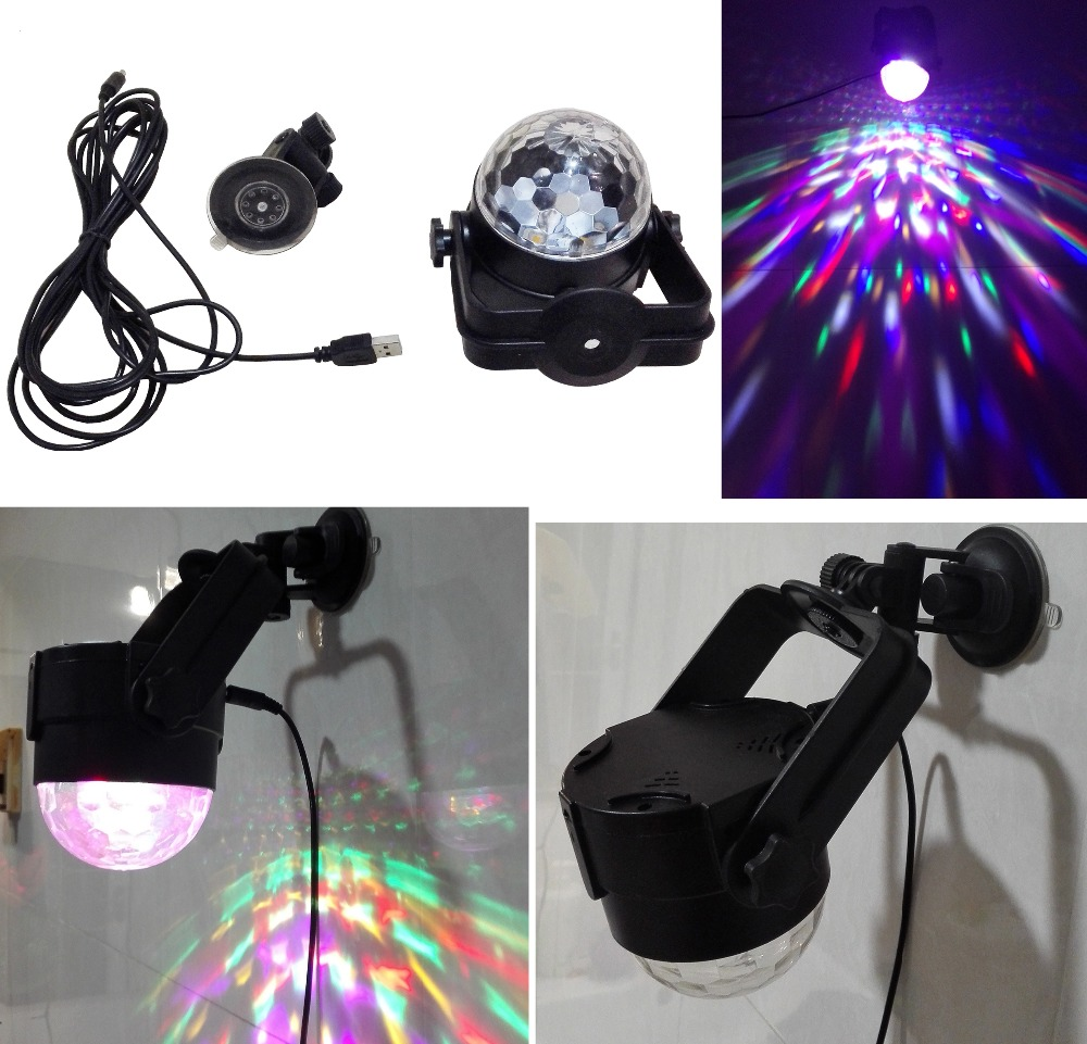 7 Color Changing 9W RGB USB charging cable Sound Actived Portable Crystal Magic Mini Rotating Ball Effect Led Stage Lights