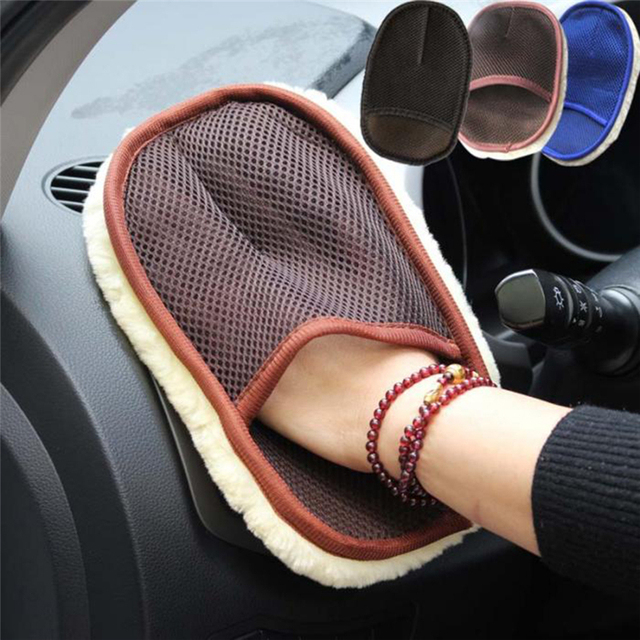 Drop shipping Brand new Car Styling Wool Soft Car Washing Gloves Cleaning Brush Motorcycle Washer Care With packaging 3 colors