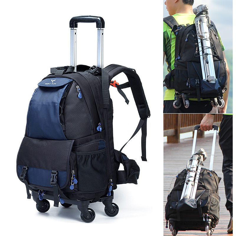 Large Space Trolley Photo SLR Case Camera Nylon Bags Big Capacity Camera Waterproof w Rain Cover
