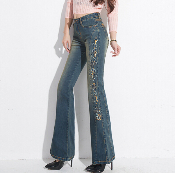 ФОТО Autumn Winter fashion womens blue embroidered jeans , female embroidery denim trousers , jean flare pants for women h178