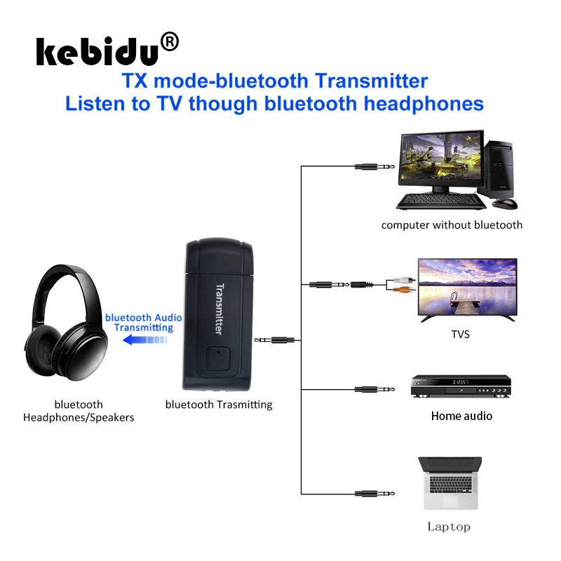 Kebidu Bluetooth V4.2 Sender Drahtlose A2dp 3,5mm Stereo Audio Musik Receiver Adapter Für Tv Telefon Pc Mp3 Mp4 Lautsprecher Tragbares Audio & Video