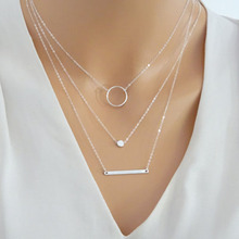 3 Layers Round Pendant Necklace silver circle charm link Chain Choker Necklaces Vintage Jewerly New collares mujer