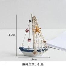 6style Wooden Mediterranean Sailing Model Creative Desktop Home Decoration Crafts Sailboat mannequin For gifts C669