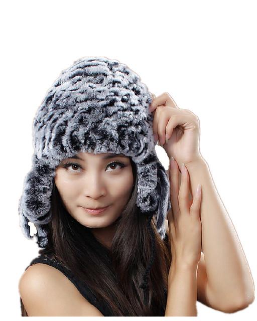 Protector auditivo H655-winter otoño de las mujeres de punto gorros de abrigo, gris rojo blanco marrón natural rex rabbit fur sombrero
