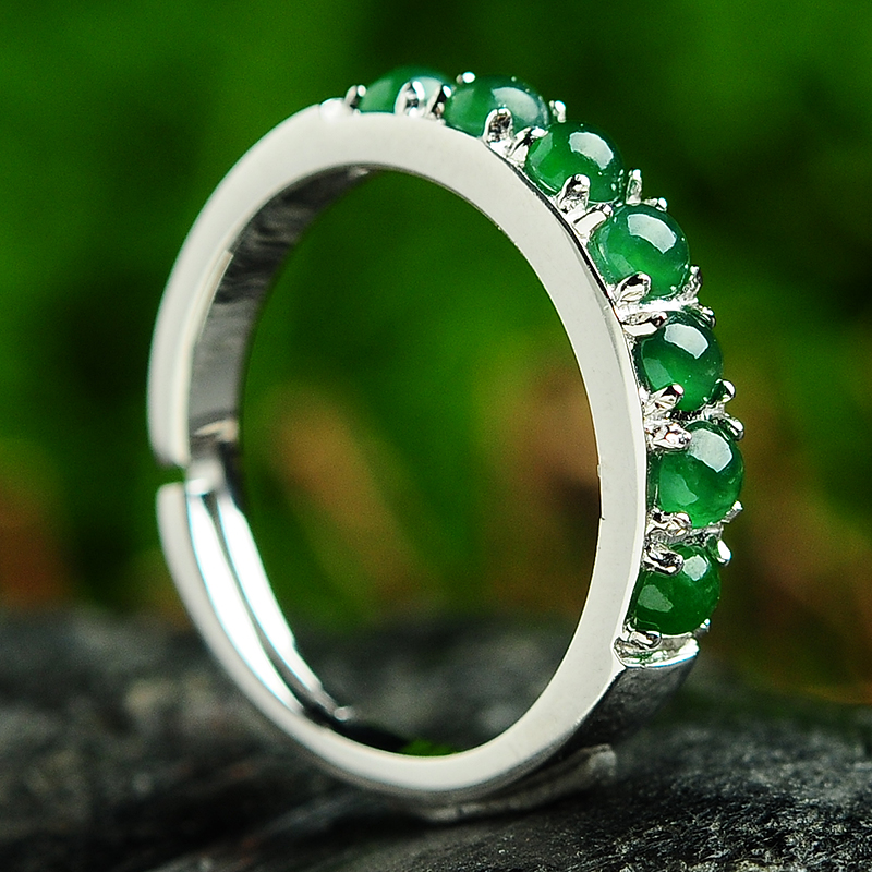 Real Opal Ring Fashion Jewelry Adjustable Rings Double Silver Color for Women Real jade Ball Stone Ring AEX0654 цена