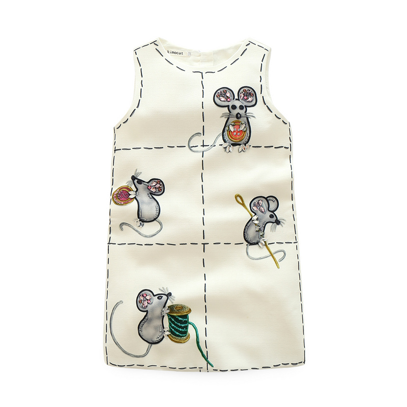 qz906 kimocat Summer Rapunzel Princess Girls Sleeveless O-Neck Dresses Mouse Print Matching Clothes Kid's Toddler Clothing White  summer princess o neck embroidery bow clothes children girls crown print dresses wholesale sleeveless boutique clothing 5pcs lot