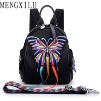 MENGXILU 2019 Chinese Style Embroidery Animal Prints Nylon Women Backpack Butterfly Bird Flower Pattern Lady Girls Shoulder Bag