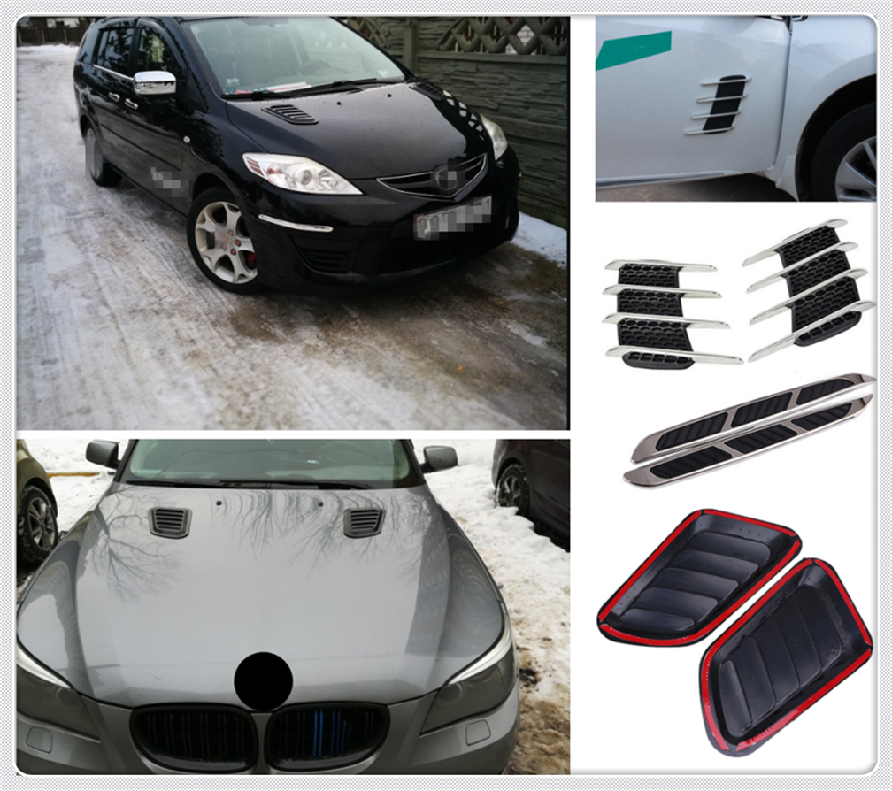 Car shape decorative hood sticker simulation vent air outlet for Kia Soul Forte5 Cadenza Telluride Pro Venga|Car Stickers| |  - title=