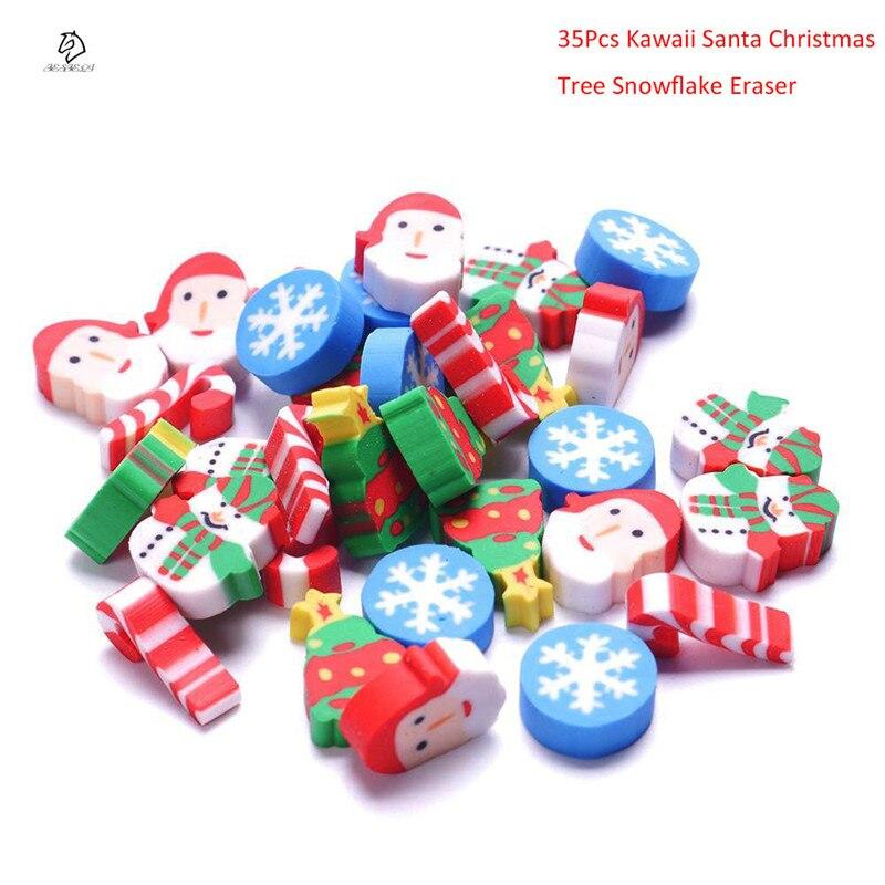 35Pcs/Pack Mini Kawaii Cartoon Santa Christmas Tree Snowflake School Supplies Rubber Eraser For Kids Free Shipping