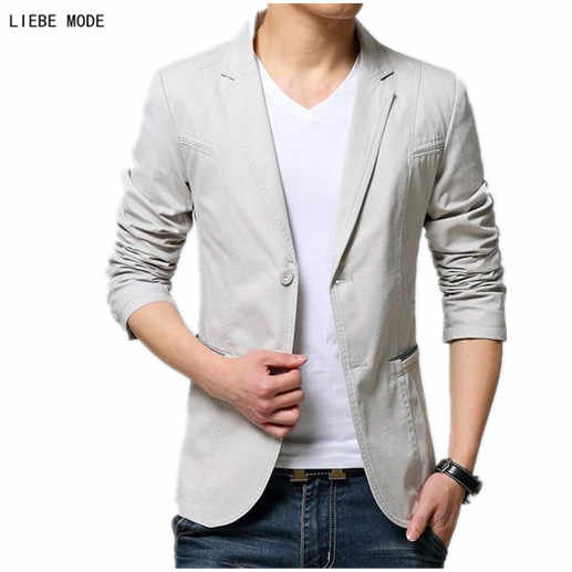 2019 New Men Business Casual Blazer Black Beige Khaki Mens Cotton Suit Jacket Korean Slim fit Blazer Homme Plus Size 4XL 5XL