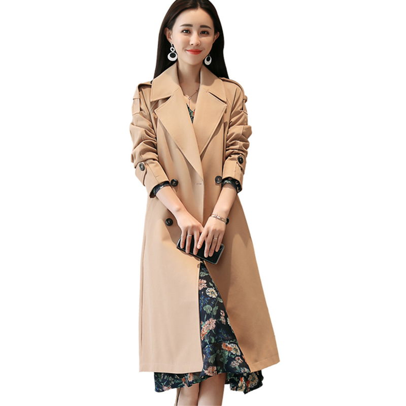 2019 Women's   Trench   Coat Fall /Autumn Casual Double Dreasted Loose Belt Large Size Windbreaker Female Long Outerwear Top L225