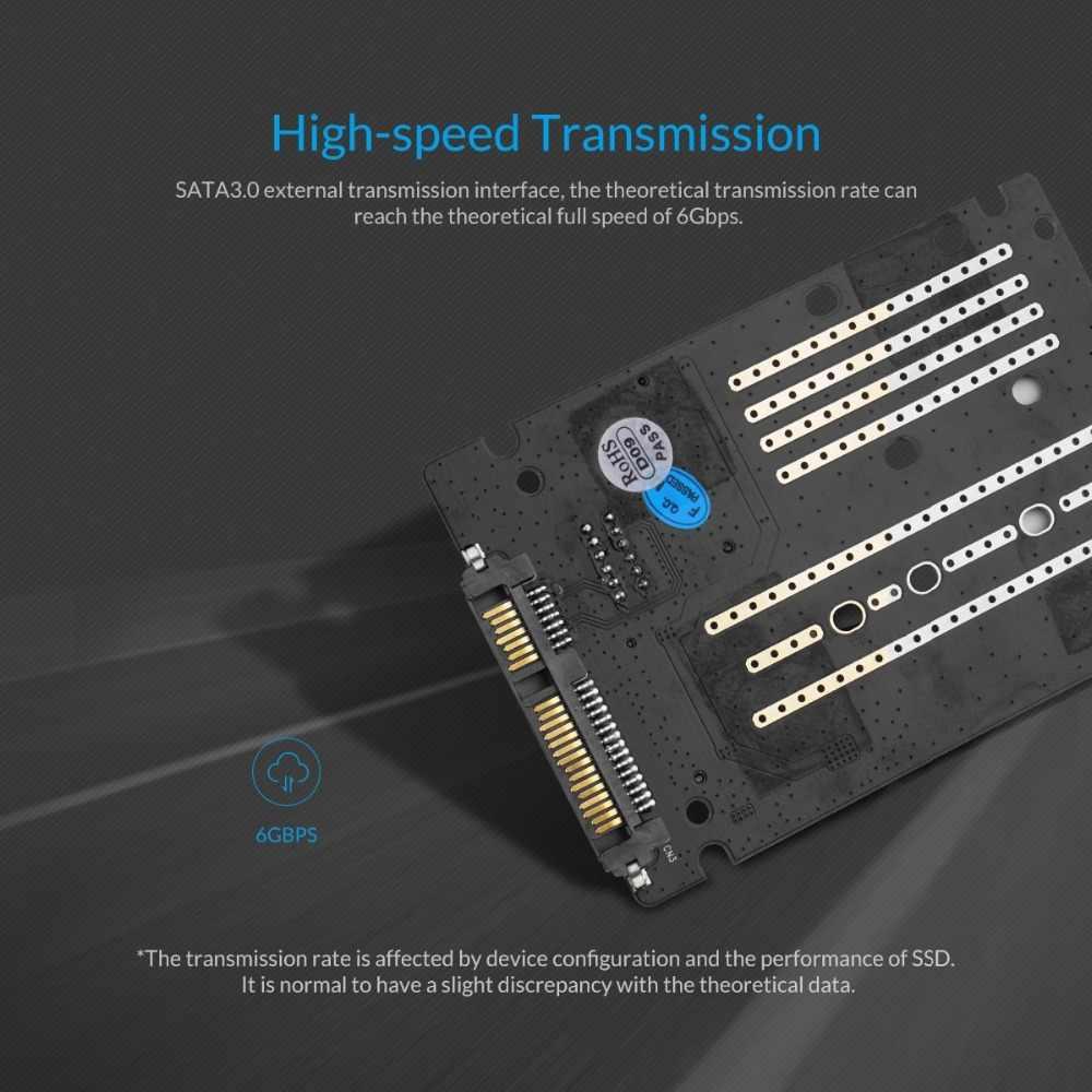 Carcasa ORICO 2,5 pulgadas HDD m2 Ngff/Msata a Sata 3,0 adaptador de alta velocidad 6 Gbps caja de disco duro para Samsung Seagate SSD