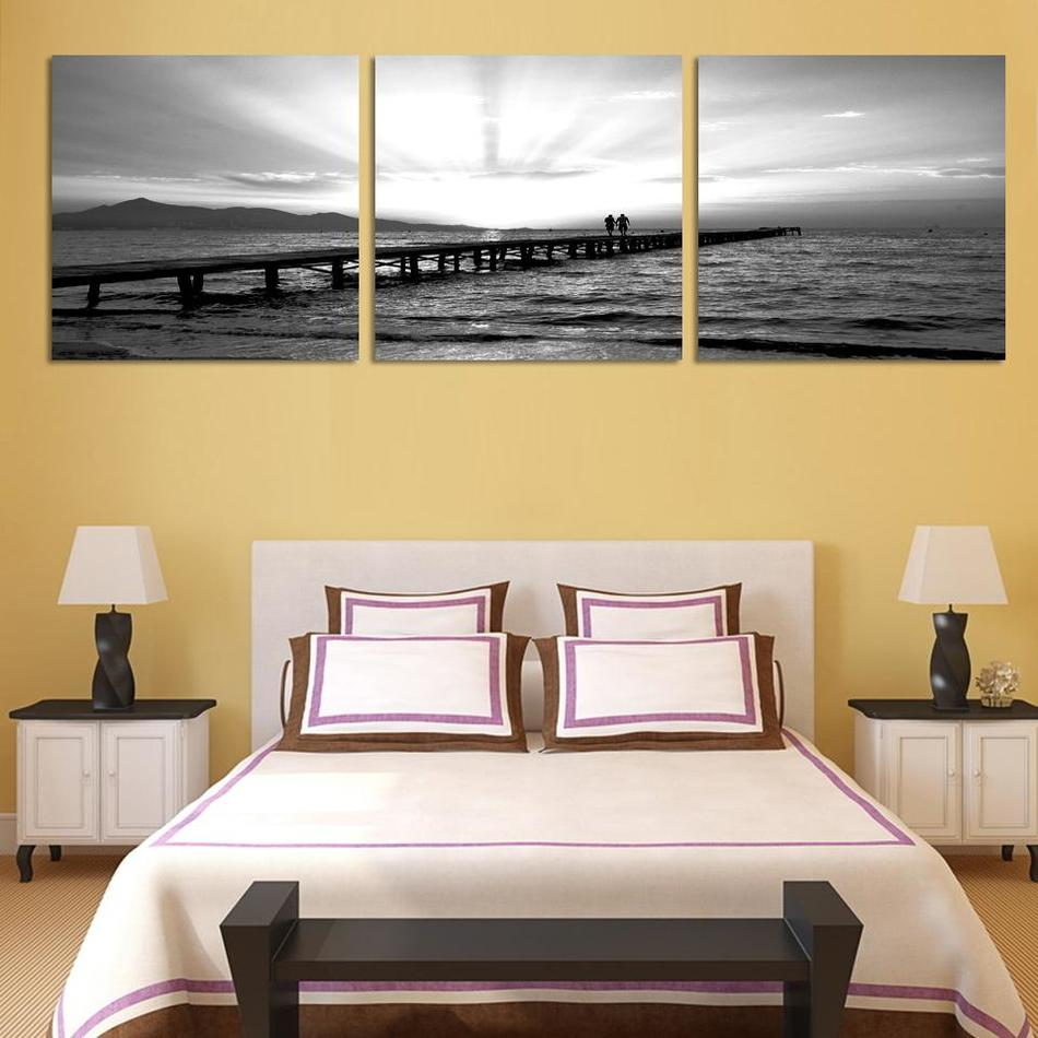 3 Piece Canvas Picture home Decorative for bedroom black white lover ...