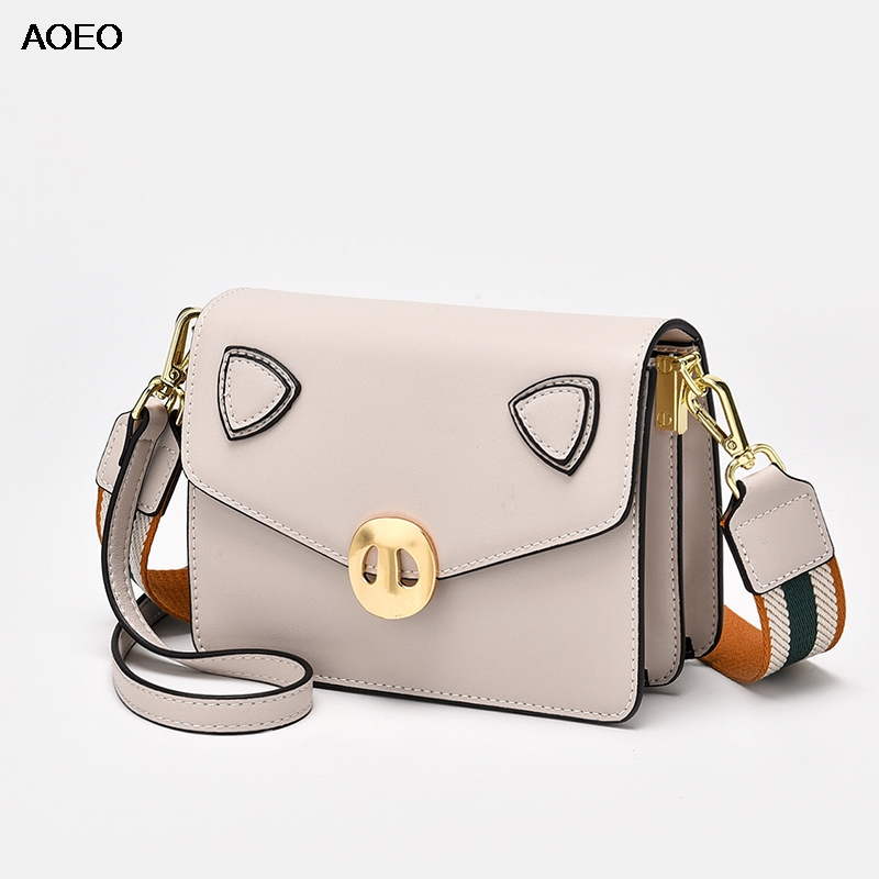 AOEO Crossbody Bags For Women Small Pig Design Cute Ladies Clutch Hand Bags Split Leather 2