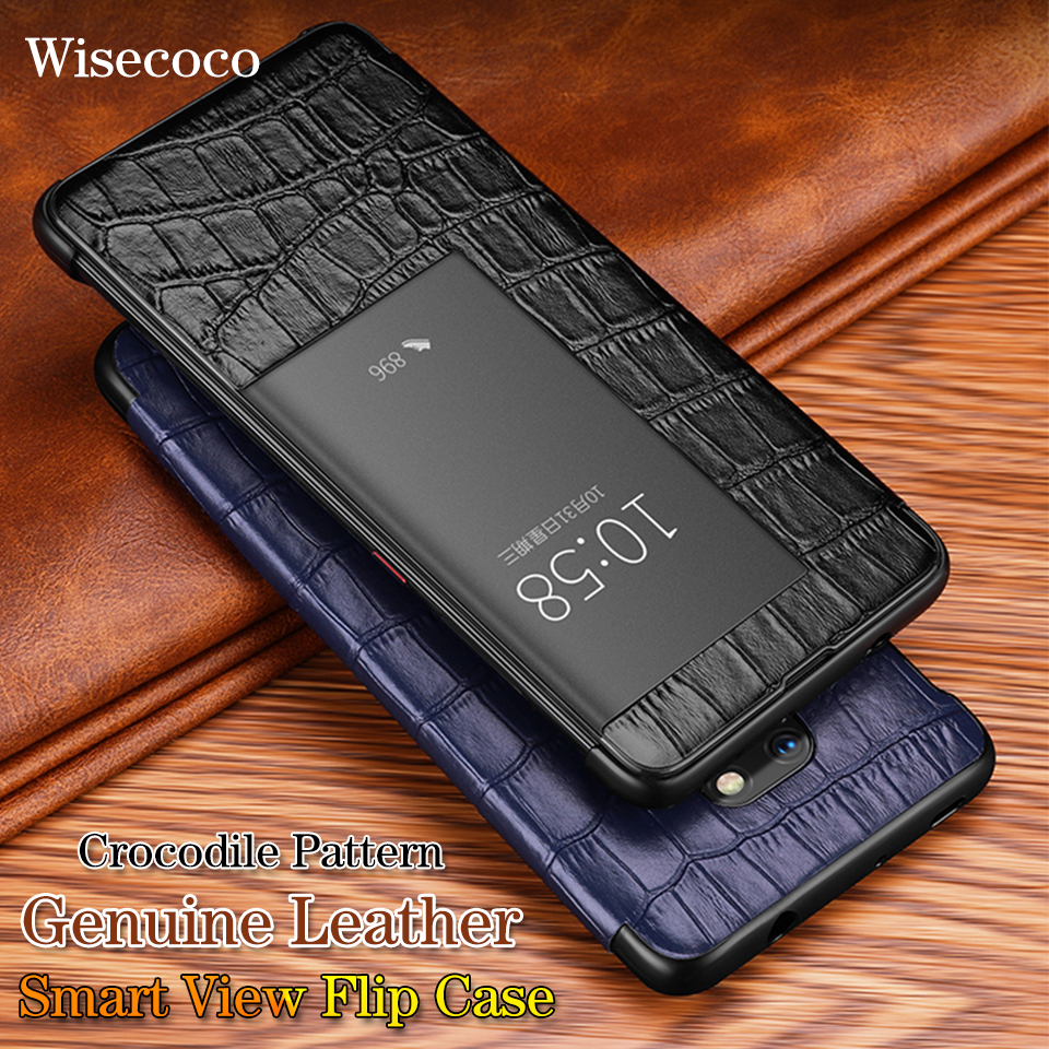 Toque inteligente Caso Janela Vista Aleta para Huawei Companheiro 20 10 P20 P30 Pro Mate20 Lite Luxo Crocodile Pattern Genuine capa de couro