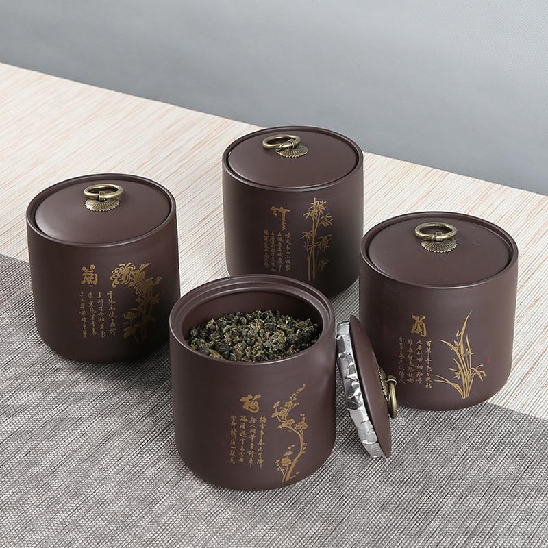 Yixing Roxo Argila jogo de Chá Frasco do Armazenamento Selo Caddy Teaware Pintados À Mão Acessórios Vintage Café Caixinha de Caddies Latas de Decoração
