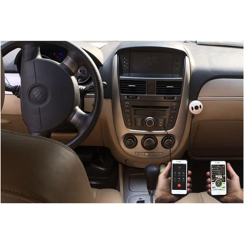 Rechargeable Bluetooth 4.1 Wireless Hands-free Speaker Car Kit with Aux Input Jack (Grey+White)