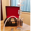 newest rotating hookah glass shisha with leather bag twirl hookah spiral shisha water proof led ligh remote control huge smoking