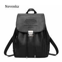 NEVENKA Women Fashion Backpack Female PU Leather Casual Letter Embossing Backpacks For Teenager Girl Preppy Style School Bag