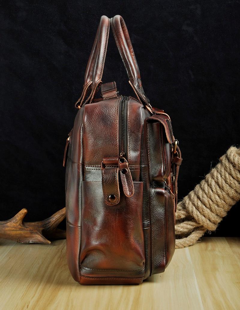 Original leather Men Fashion Handbag Business Briefcase Commercia Document Laptop Case Design Male Attache Portfolio Bag 3061-bu