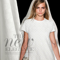 140cm wide white ivory three dimensional jacquard fabric for clothes dress