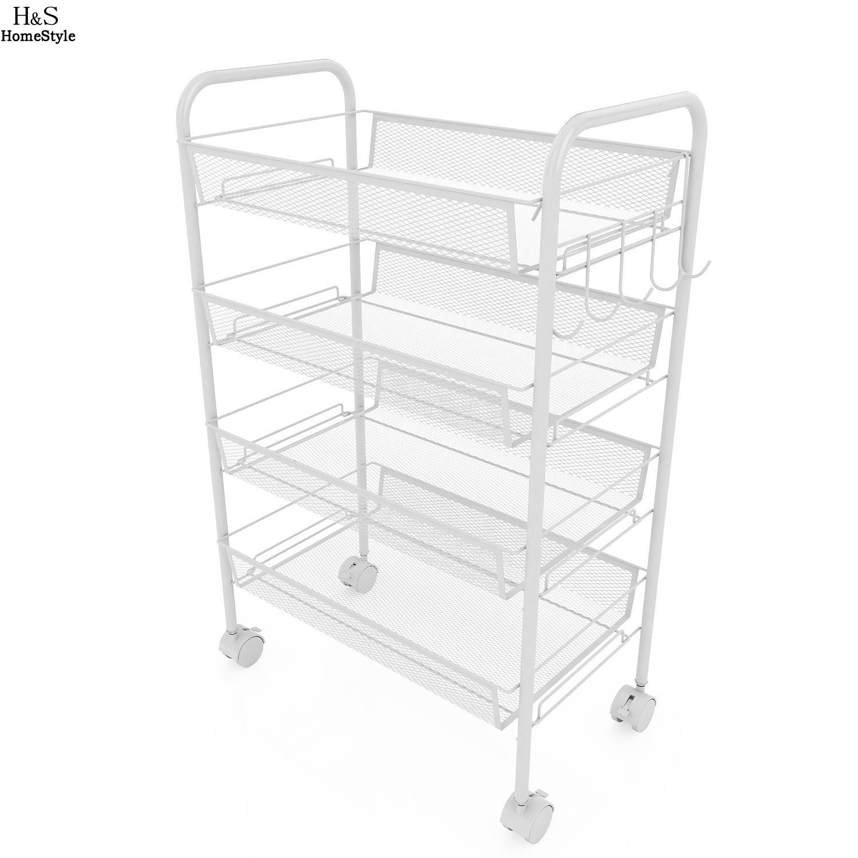 Homdox 4 niveles Rolling Cart organización Net almacenamiento cesta ...