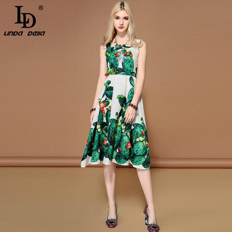 Ld linda della 2019 패션 활주로 여름 드레스 여성 민소매 크리스탈 구슬 녹색 식물 선인장 인쇄 캐주얼 드레스-에서드레스부터 여성 의류 의  그룹 3