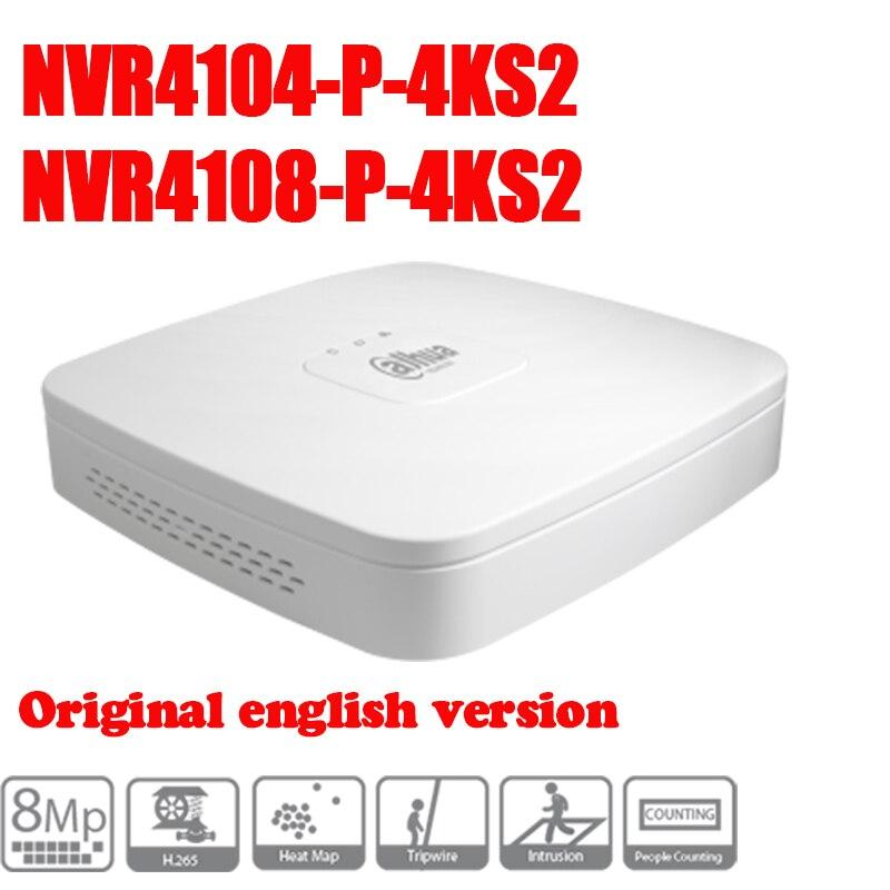 Original Dahua egnlish version NVR4104-P-4KS2 and NVR4108-P-4KS2 replace NVR4104-P and NVR4108-P POE 4/8ch 1U smart NVR 4PoE 2014 new arrival dahua smart 1u nvr with p2p mini nvr nvr4104 nvr4108 nvr4116 free dhl shipping